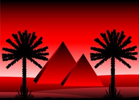Sahara desert with egyptian pyramids after sunset - vector illustration. Stock Vector - 11087176