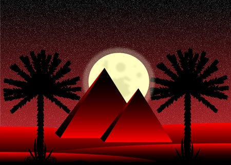 Sahara desert with egyptian pyramids at night - vector illustration. Vector