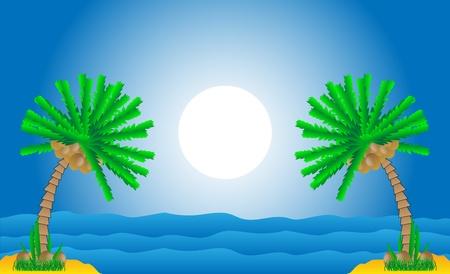 Tropische Landschaft mit Palmen und Meer - Vektor-Illustration.