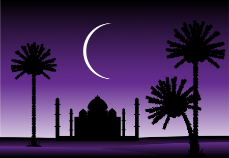 romantic getaway: Night in desert with silhouettes of palms and mosque Illustration