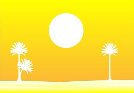 Evening in desert with silhouettes of palms Vector