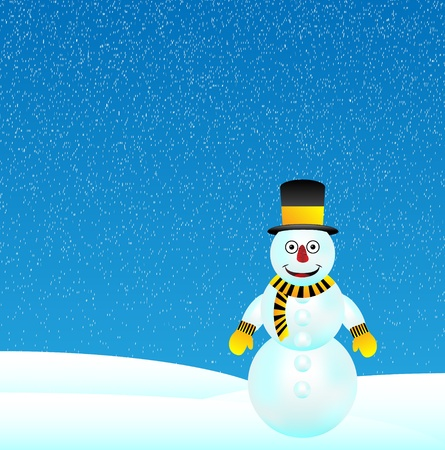 Winter landscape with snowman - vector illustration Vector