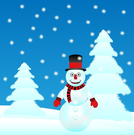 Winter landscape: forest and snowman - vector. Vector