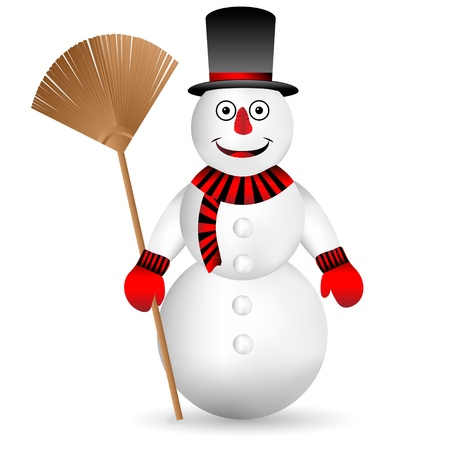 year january: Snowman with broom isolated on white background - vector. Illustration