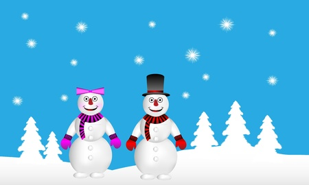 Winter landscape: forest, snowman and snow woman - vector Vector