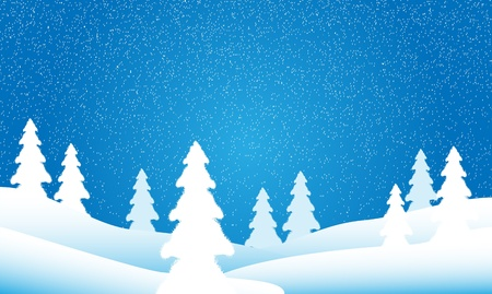 Snow falling over a fir tree forest Vector
