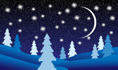 luna caricatura: Paisaje de invierno: bosque de abetos en la noche Vectores
