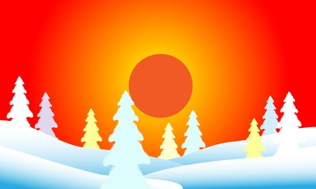 Winter landscape. Fir tree forest at sunset. Vector