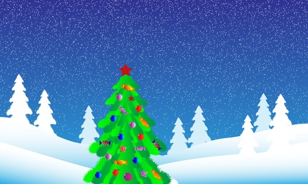 Winter landscape. Christmas tree in fir tree forest. Vector