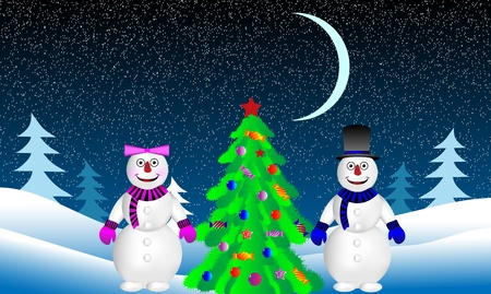 Winter landscape. Christmas tree and snowmans in fir tree forest. Vector