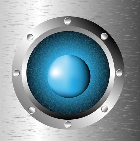 ventana ojo de buey: Nave porta ventana con el espacio: cielo azul oscuro planeta y las estrellas