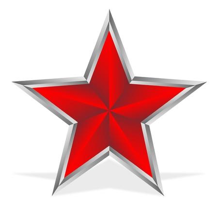 Rode ster op een witte achtergrond Stock Illustratie