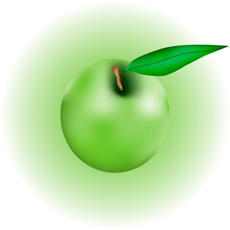 Apple with leaf on green background Stock Vector - 11164693