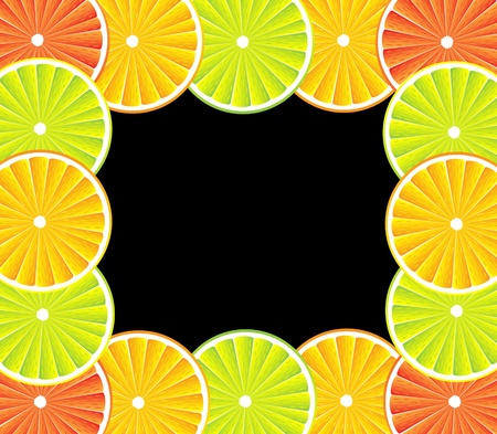 Citrus background with slices of lemon, grapefruit and orange Vector