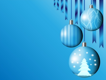 Christmas background with blue bells Vector