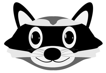 raton laveur: Face � Raccoon isol� sur fond blanc - vecteur Illustration
