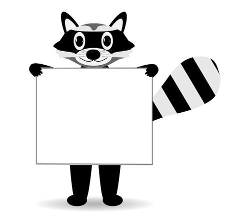 raton laveur: Raton laveur mignon de bande dessin�e avec signe blanc sur blanc