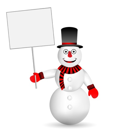 Snowman with sign on white background  Vector