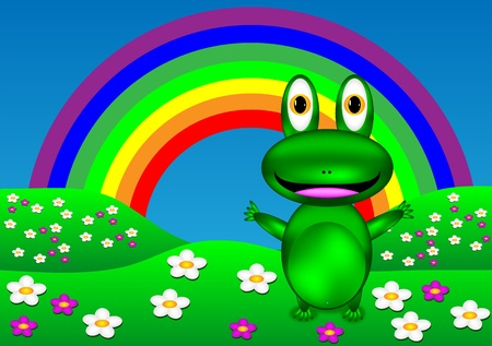 Green frog on the lawn  Vector