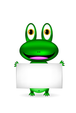 sign  childhood: Green frog with blank sign on white Illustration