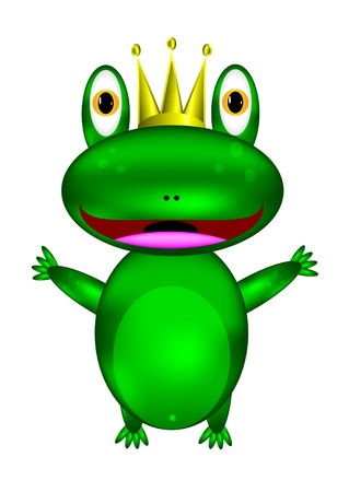 Illustration of isolated frog prince on white background Vector