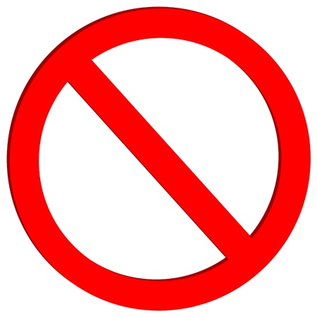 signs and symbols: Not allowed sign on white background - vector