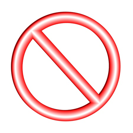 warn: Not allowed sign on white background - vector