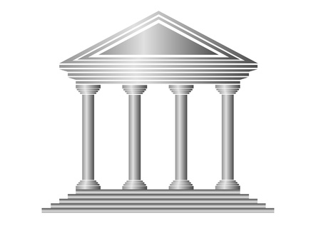 columns: Metal bank icon on white background - vector Illustration