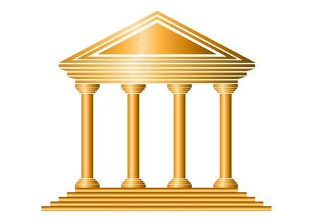 government building: Gold bank icon on white background - vector
