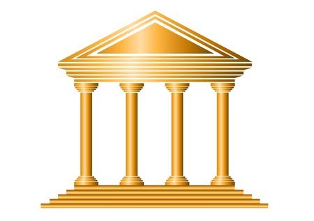 Gold-Bank-Symbol auf weißem Hintergrund - Vektor Standard-Bild - 11237018