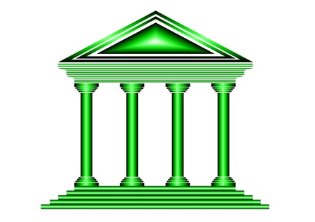 courthouse: Green bank icon on white background - vector Illustration