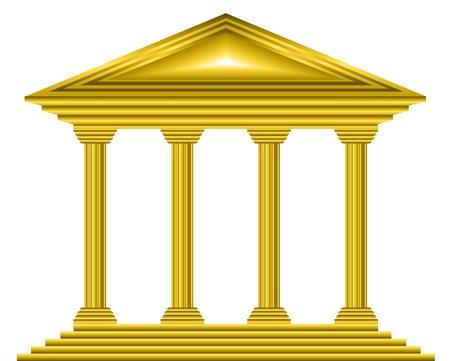 colonna romana: Bank Gold icona su sfondo bianco - vettore
