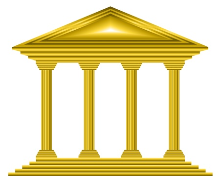 Gold bank icon on white background - vector Vector