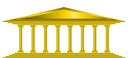 courthouse: Gold bank icon on white background - vector