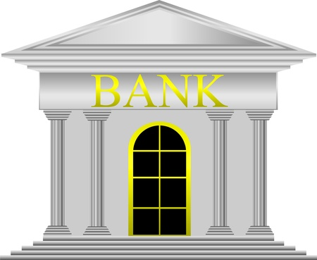 edificio banco: De metal banco icono en el fondo blanco - vector Vectores