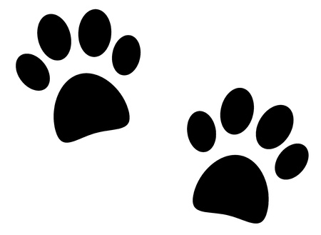 dog track: Black paw print on white background - vector