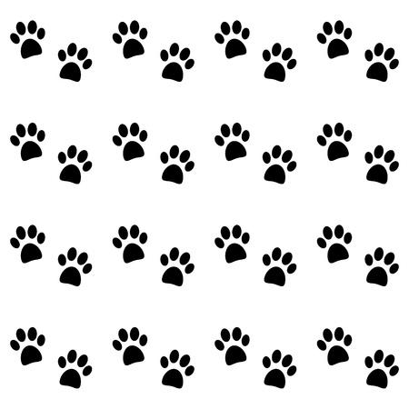 Background with black paw prints - vector Stock Illustratie