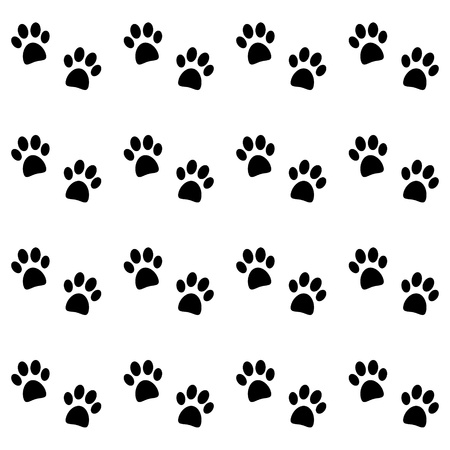 puppy and kitten: Background with black paw prints - vector Illustration