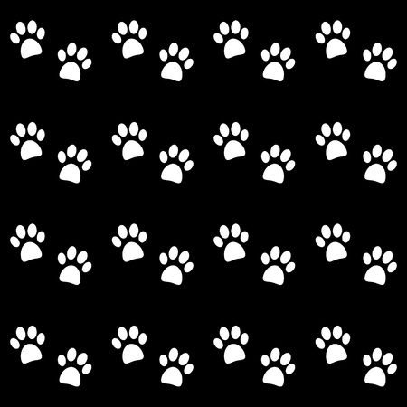 puppy and kitten: Background with white paw prints - vector Illustration