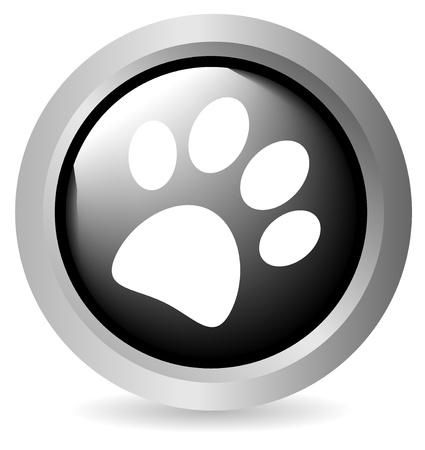 Paw button black on white background - vector Vector