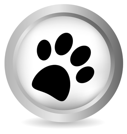 dog track: Paw button on white background - vector