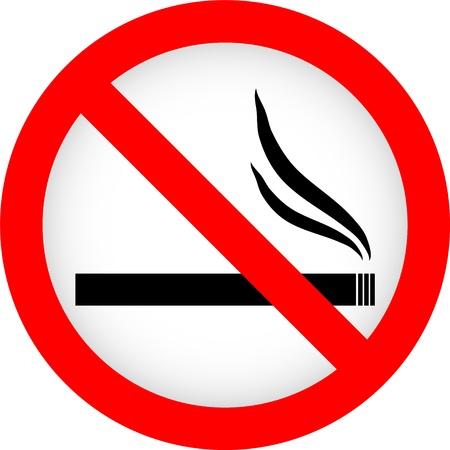 Señal de no fumar sobre un fondo blanco. Ilustración del vector.