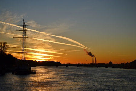 View of Neva river at sunset in St.Petersburg, Russia photo