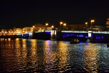 Night view of Palace Bridge. St Petersburg, Russia.