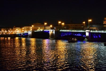 Night view of Palace Bridge. St Petersburg, Russia.