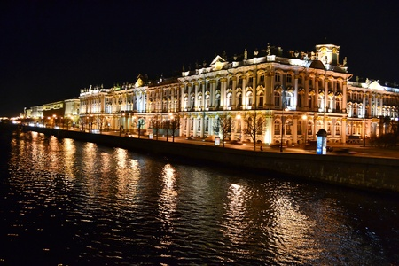 neva: The State Hermitage Museum and Neva river at night, St.Petersburg, Russia Editorial