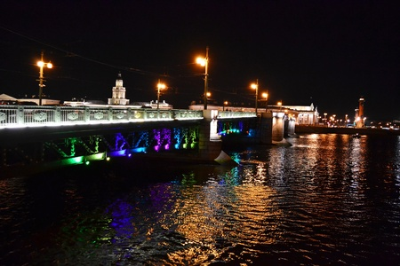 Night view of Palace Bridge in St Petersburg, Russia