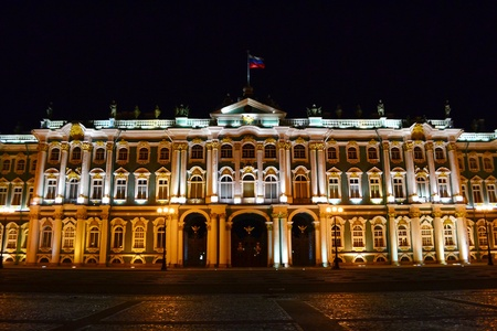 pomp: The State Hermitage Museum at night in St.Petersburg, Russia Editorial