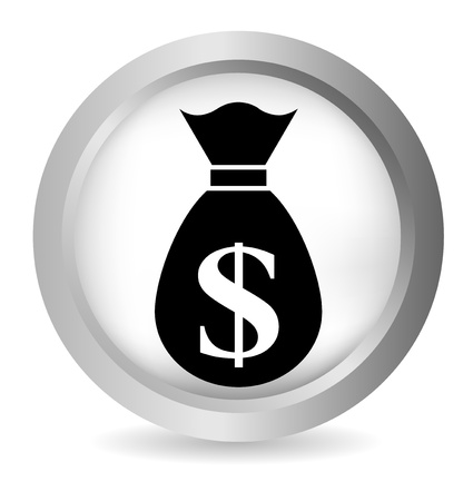 Money glossy round vector button on white Vector