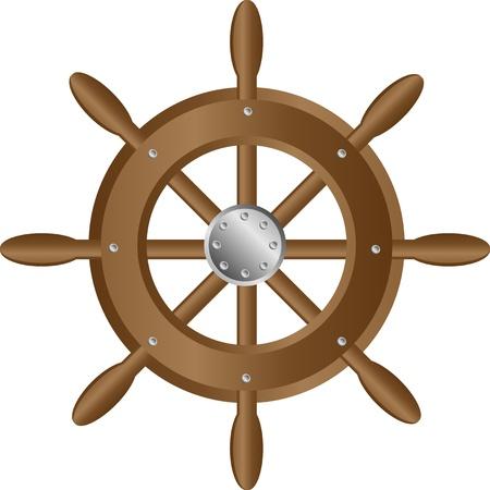Icône de roue de direction pour navires sur fond blanc